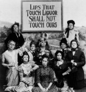 Members of the 5th Temperance Battleaxe Brigade display their least successful slogan