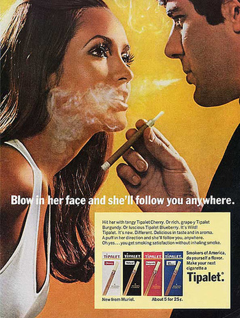 A later series of ads showed how you can use her cleavage as an ashtray